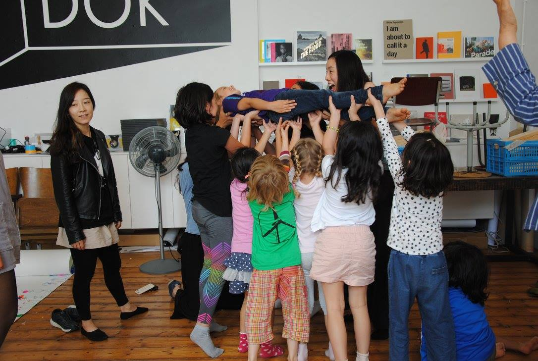 """Merel Zwarts, Aimee Zito Lema, Yunna Choi, """"Commons for Children"""" children's conference as part of the IASC 2017 Biennial Conference, 10-14 July 2017, Casco Art Institute. Photo: Casco Art Institute"""